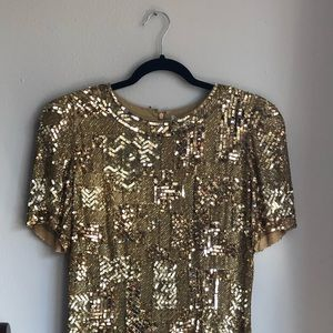 Vintage Gold Sequin Mini Shift Dress